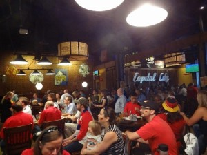 Enthusiastic soccer fans crowded at Tyler's Restaurant and Taproom in Raleigh